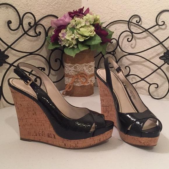 bb52d0c746a NINE WEST Patent Cork Wedge Sandals
